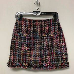 Zara multi colored tweed mini skirt